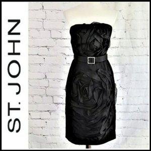 ST JOHN Strapless Floral Motif Cocktail Dress, 6
